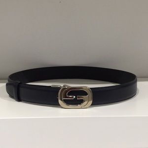 Vintage GUCCI GG Silver Buckle Navy leather belt